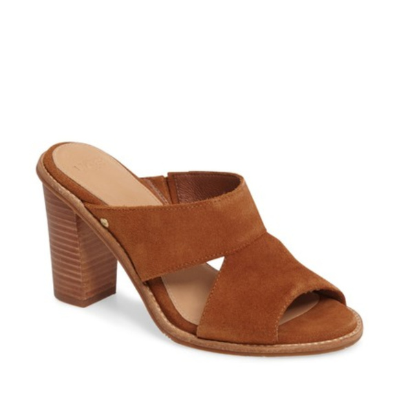 Mib Ugg Australia Celia Suede Heels Sandals Slides Boutique